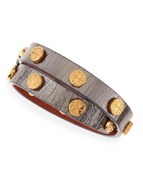 Logo-Studded Snake-Embossed Wrap Bracelet, Gunmetal