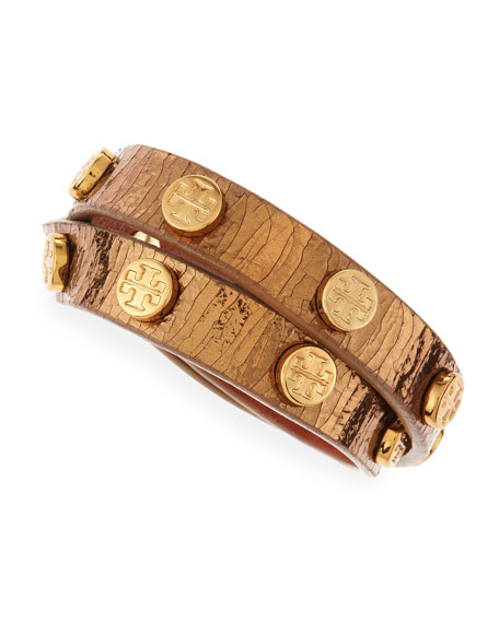Logo-Studded Snake-Embossed Wrap Bracelet, Gold