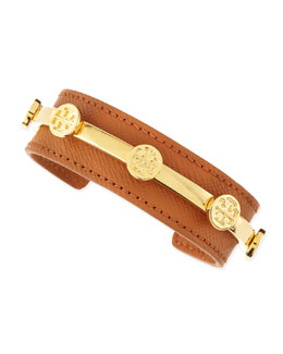 Tory Burch Leather Logo Cuff, Brown