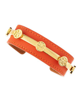 Tory Burch Leather Logo Cuff, Coral
