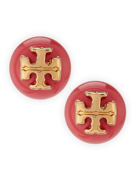 Evie Logo Stud Earrings, Coral