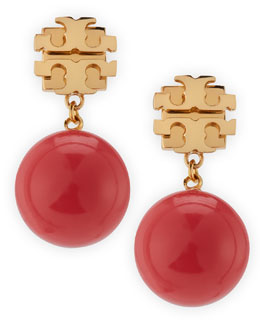 Tory Burch Evie Logo Drop Earrings, Coral