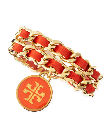 Leather Woven Chain Bracelet, Coral/Golden