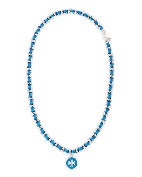 Leather Woven Chain Necklace, Blue/Silvertone