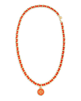 Tory Burch Leather Woven Chain Necklace, Coral/Golden
