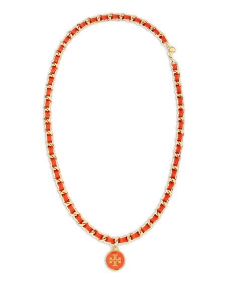 Leather Woven Chain Necklace, Coral/Golden