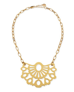 Tory Burch Madura Fan Pendant Necklace