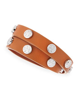 Tory Burch Logo-Studded Leather Wrap Bracelet, Brown