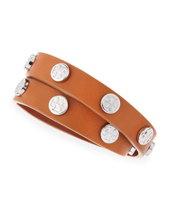 Logo-Studded Leather Wrap Bracelet, Brown