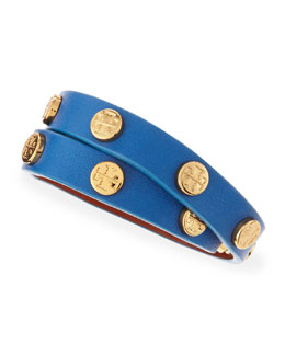 Tory Burch Logo-Studded Leather Wrap Bracelet, Blue