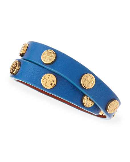 Logo-Studded Leather Wrap Bracelet, Blue