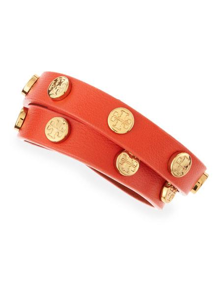 Logo-Studded Leather Wrap Bracelet, Coral