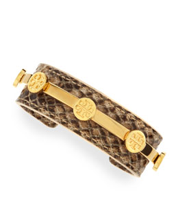 Tory Burch Snake-Embossed Leather Logo Cuff