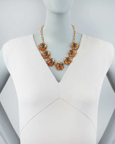 """Crystal Rose Short Necklace, 16""""L"""