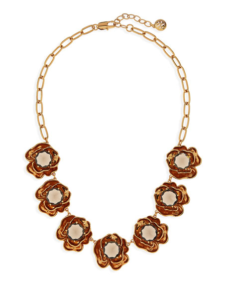 "Crystal Rose Short Necklace, 16""L"