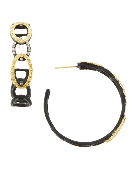 Midnight Diamond Open-Circle Hoop Earrings
