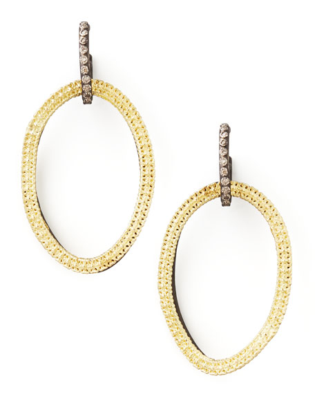 Midnight Silver & 18k Gold Open-Drop Earrings