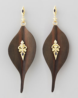 Armenta Ebony Wood Diamond Fleur-de-Lis Earrings