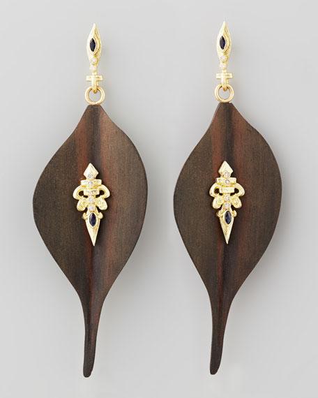 Ebony Wood Diamond Fleur-de-Lis Earrings