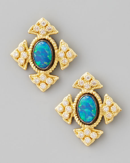 18k Gold Cravelli Cross Opal Stud Earrings