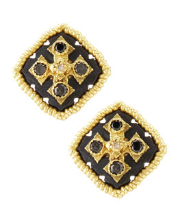 Armenta Midnight Square Button Earrings