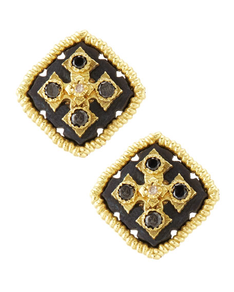 Midnight Square Button Earrings