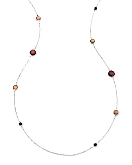 Sterling Silver Wonderland Graduated Lollipop Station Necklace in Pizzelle 37""