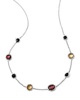 Ippolita Sterling Silver Wonderland Mini Gelato Short Station Necklace in Pizzelle 16-18""