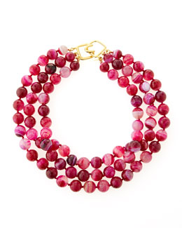 Kenneth Jay Lane Faceted Three-Row Agate Necklace, Dark Pink/Purple