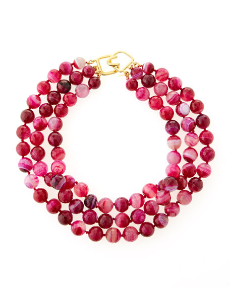 Faceted Three-Row Agate Necklace, Dark Pink/Purple