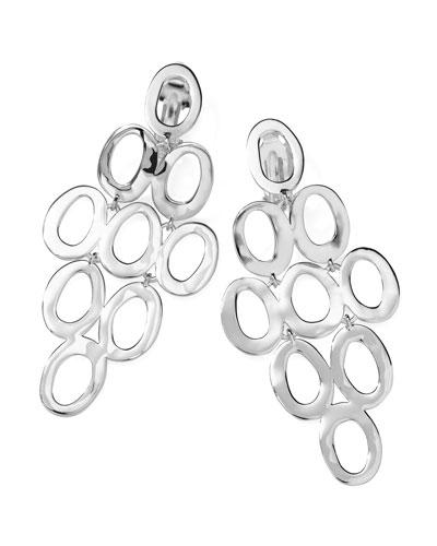 Silver Open Cascade Clip-On Earrings