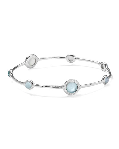 Ippolita Stella Sterling Silver Bangle in Swiss Blue Topaz with Diamonds