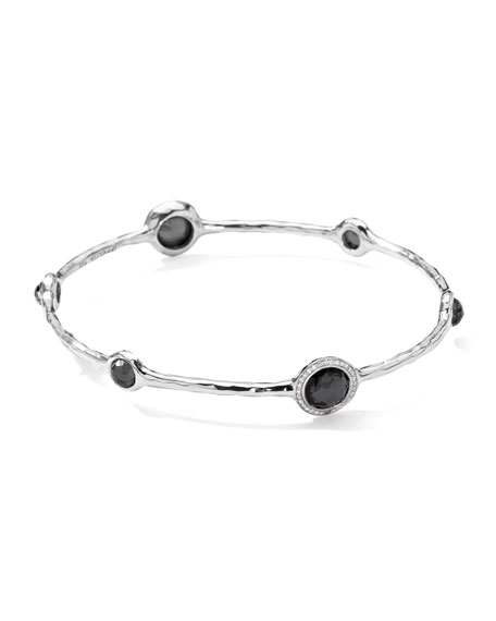 Stella Sterling Silver Bangle in Hematite with Diamonds
