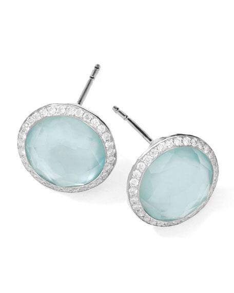 Stella Stud Earrings in Blue Topaz Doublet with Diamonds
