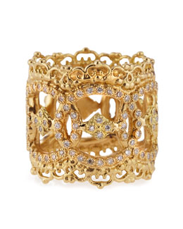 Armenta 18k Yellow Gold Open Scalloped Ring with Diamonds