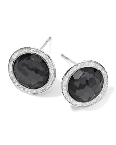 Ippolita Stella Stud Earrings in Hematite Doublet with Diamonds