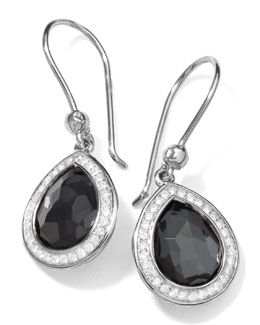 Ippolita Stella Teardrop Earrings in Hematite & Diamonds, 28mm