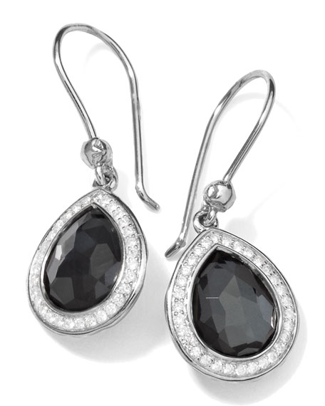 Ippolita Stella Teardrop Earrings in Hematite & Diamonds,