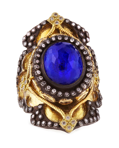 18k Gold Midnight Heraldry Shield Ring with Lapis and Diamonds