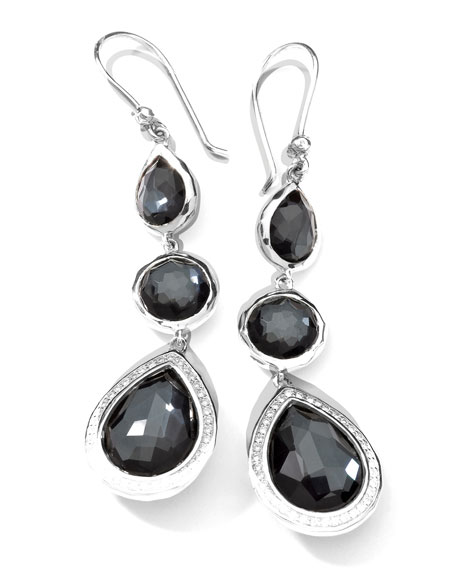 Ippolita Stella 3-Drop Earrings in Hematite & Diamonds
