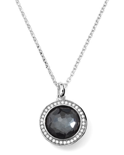 Ippolita Stella Lollipop Necklace in Hematite & Diamonds 16-18""