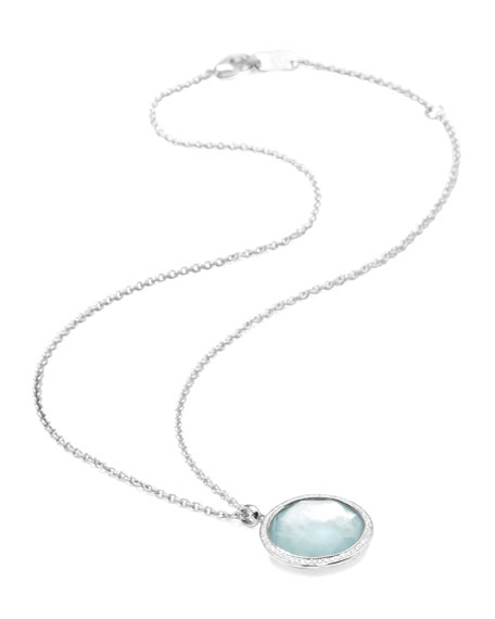 Stella Large Lollipop Necklace in Blue Topaz & Diamonds 16-18""