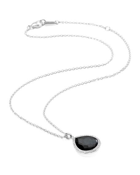 "Stella Teardrop Necklace in Hematite & Diamonds 16-18"""