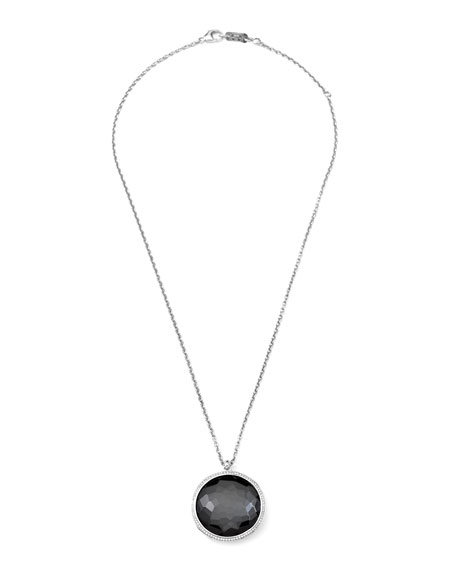Stella Pendant Necklace in Hematite & Diamonds 16-18""