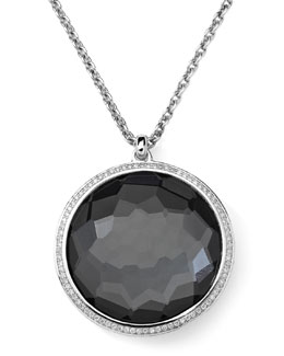 Ippolita Stella Pendant Necklace in Hematite & Diamonds 16-18""