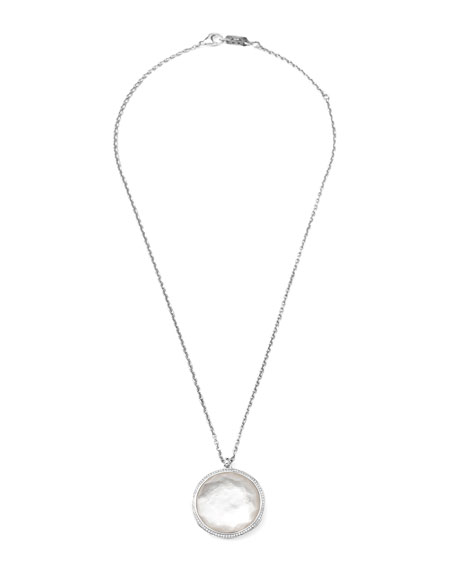 """Stella Pendant Necklace in Mother-of-Pearl & Diamonds 16-18"""""""