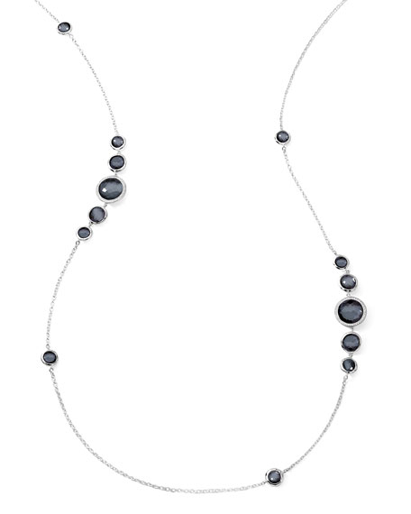 Stella Diamond & Hematite Station Necklace, 37""