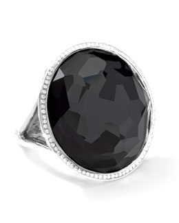 Ippolita Stella Large Lollipop Ring in Hematite & Diamonds