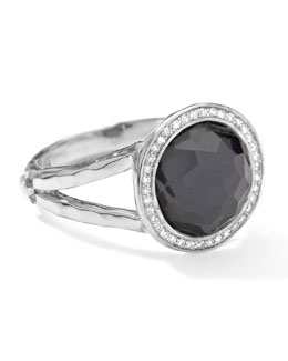 Ippolita Stella Mini Lollipop Ring in Hematite Doublet with Diamonds, 0.15