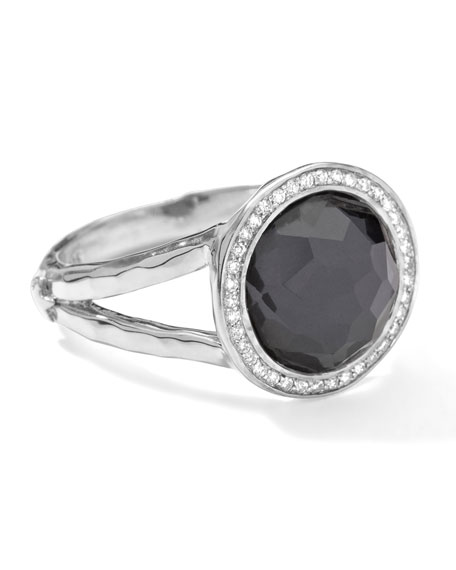 Stella Mini Lollipop Ring in Hematite Doublet with Diamonds, 0.15